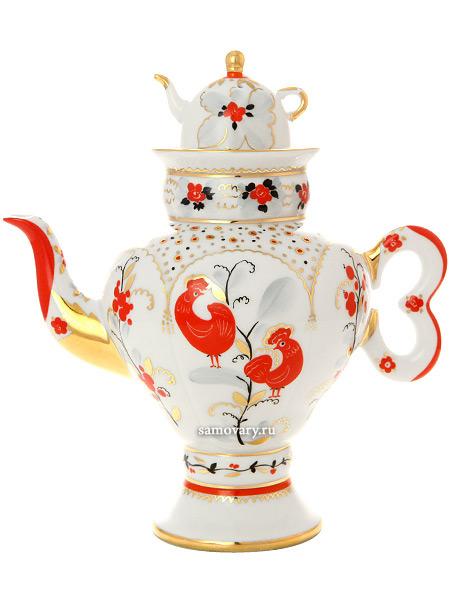 Чайник сувенирный заварочный форма Самоварчик, рисунок Народные мотивы, Императорский фарфоровый заводИзящный фарфоровый самоварчик с заварочным сувенирным чайником.&#13;<br>Ручная роспись.<br>