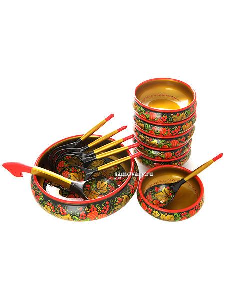 Деревянный набор для салата хохлома Ягоды из 14 предметов арт.63560000014Деревянный набор для салата с хохломской росписью.&#13;<br>Состоит из 14 предметов.<br>