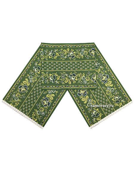 Дорожка Ализарин зеленая, рушник для каравая Артель с кружевомРазмер дорожки - 45*190 см. &#13;<br>Хлопок 100%. 1 Сорт.<br>