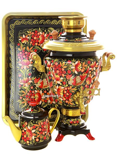 Набор самовар электрический 3 литра с художественной росписью Птичка на черном фоне, арт. 130318Самовары электрические<br>Комплект из трех предметов:латунный самовар, металлический поднос и заварочный чайник.<br>