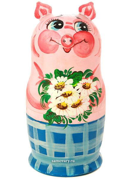 Набор матрешек Поросенок, серия Животные, арт. 549-2Набор из 5 штук.<br>Высота - 16,5 см.<br>