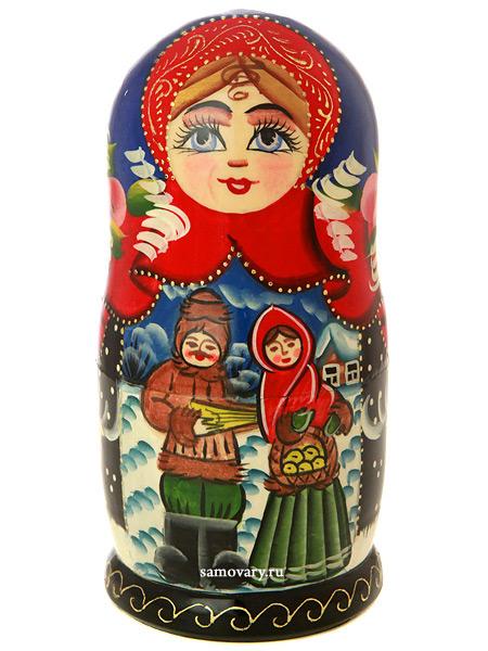 Набор матрешек Зимние гуляния серия Сказки, арт. 502Набор из 5 штук.&#13;<br>Высота - 16,5 см.<br>