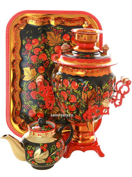 Набор самовар электрический 3 литра с художественной росписью Хохлома рыжая, желудь, арт. 110246Самовары электрические<br>Набор с термостойкой художественной росписью: тульский латунный самовар, металлический поднос и заварочный чайник.<br>