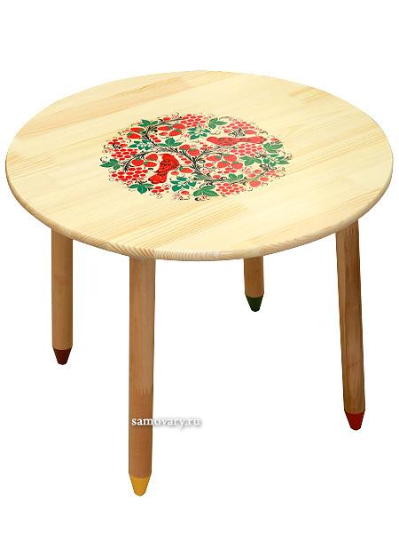 Деревянный детский стол круглый с художественной росписью Хохлома