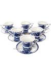 Сервиз чайный Гжель на 6 персон, арт.2Набор из 6 чайных чашек и блюдец.<br>