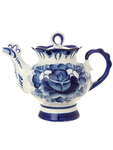 """Чайник заварочный керамический Гжель """"Подарочный"""" Тульские самовары"""
