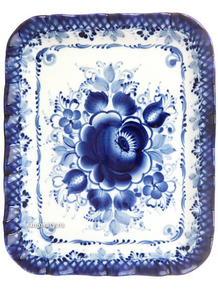 Поднос прямоугольный кудрявый с художественной росписью Гжель 17х14 см, №4Поднос с ручной художественной росписью.<br>