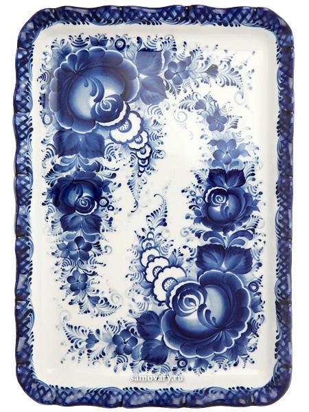 Поднос прямоугольный  с художественной росписью Гжель, 17,5 х 25 см, №2Поднос с ручной художественной росписью.&#13;<br>Размеры - 17,5*25 см.<br>
