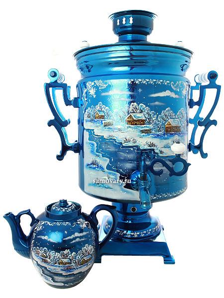 """Комплект """"Зимний вечер"""": самовар электрический 45 литров и заварочный чайник, арт. 110918 Тульские самовары"""