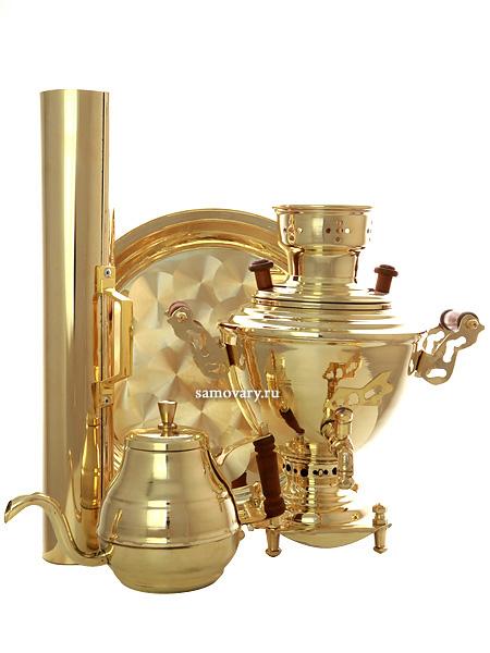 Угольный самовар 2 литра латунный в комплекте с трубой, чайником и подносом, арт. 220539Подарочный комплект: угольный самовар на 2 литра, поднос, заварочный чайник и труба.&#13;<br>Набор изготовлен из латуни.<br>