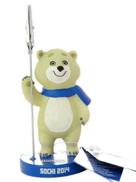 Сувенир Олимпиады Сочи 2014 Держатель для визиток Талисман Мишка, 11 смСувенир Сочи 2014.<br>Высота - 11 см.<br>