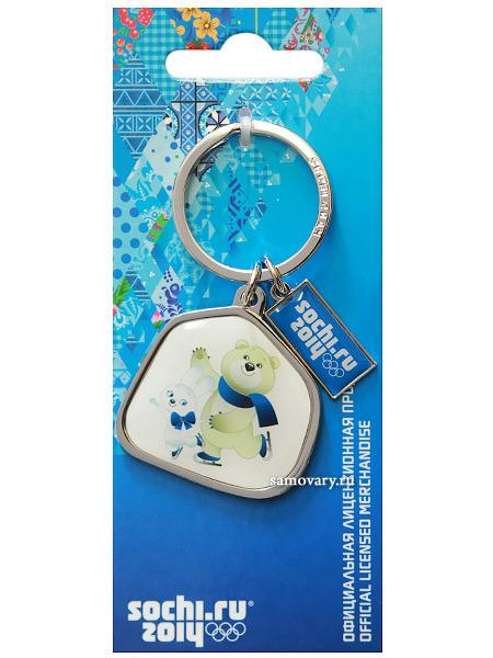 Брелок металлический Сочи 2014 Зайка и мишкаСувенир Сочи 2014.<br>Брелок металлический с изображением символики Олимпиады 2014.<br>
