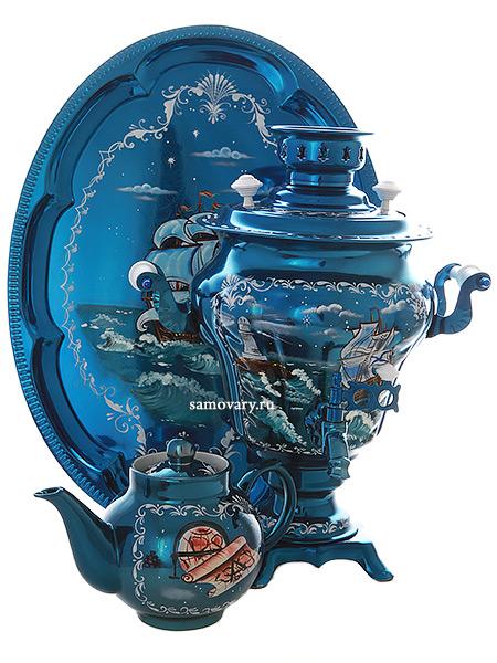 """Электрический самовар в наборе 3 литра с художественной росписью """"Морской пейзаж"""" с автоматическим отключением при закипании, арт."""