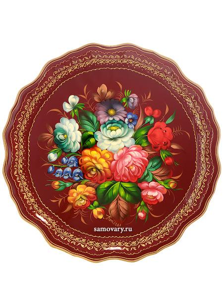 Поднос Жостово с художественной росписью Цветы на бордовом фоне, круглый, арт. 9286Поднос с ручной росписью.<br>Диаметр - 37 см.<br>