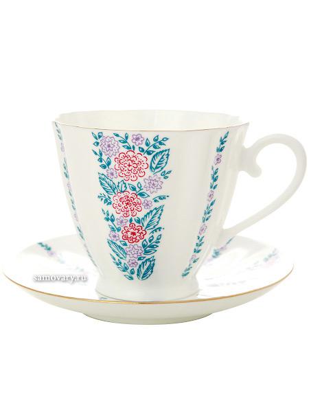Чашка с блюдцем чайная форма Гвоздика, рисунок Маргаритки, Императорский фарфоровый заводФарфоровая чайная пара.&#13;<br>Объем - 200 мл.<br>