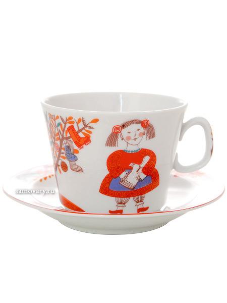 4-x предметный детский чайный комплект форма Молодежная рисунок Чудо-дерево, Императорский фарфоровый заводФарфоровая чайная пара и две тарелки.&#13;<br>Объем  - 210 мл.<br>