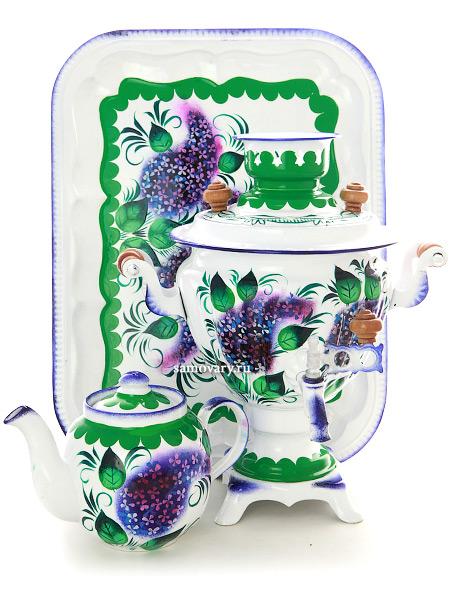 """Набор самовар электрический 2 литра с чайником с художественной росписью """"Сирень на белом фоне"""", арт. 110327 Тульские самовары"""