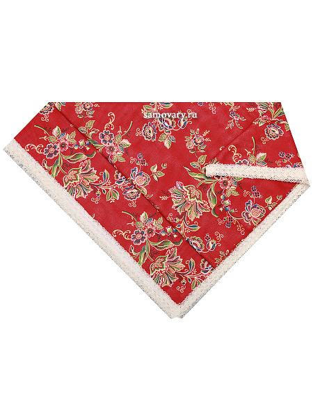 Скатерть Ализарин, красная с кружевом, 150х220Размер скатерти 150*220 см. &#13;<br>Хлопок 100%. 1 Сорт.<br>