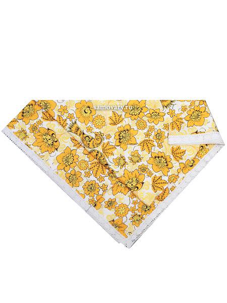 Скатерть Артель Хохлома, бело-желтая с кружевом, 150х150Размер скатерти 150*150 см. &#13;<br>Хлопок 100%. 1 Сорт.<br>