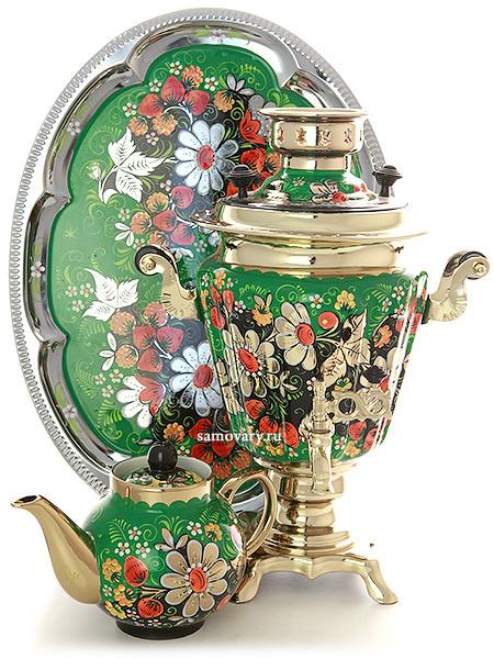 Набор самовар электрический 3 литра с художественной росписью Ромашки на зеленом фоне, арт. 130479Комплект из трех предметов:латунный самовар, металлический поднос и заварочный чайник.<br>