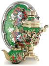 Электрический самовар в наборе 3 литра с художественной росписью Ромашки на зеленом фоне с автоматическим отключением при закипании, арт. 130479аСамовары электрические<br>Комплект из трех предметов:латунный самовар, металлический поднос и заварочный чайник.&#13;<br>Оборудован функцией автоматического отключения при закипании воды.<br>
