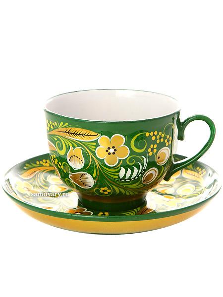 Чайная пара с росписью Хохлома на зеленом фонеЧашка с блюдцем.<br>Объем 250 мл.<br>