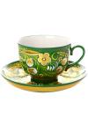 Чайная пара с росписью Хохлома на зеленом фонеЧашка с блюдцем.&#13;<br>Объем 250 мл.<br>