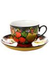 Чайная пара с художественной росписью Хохлома классическаяКерамическая чашка и блюдце.&#13;<br>Объем - 250 мл.<br>