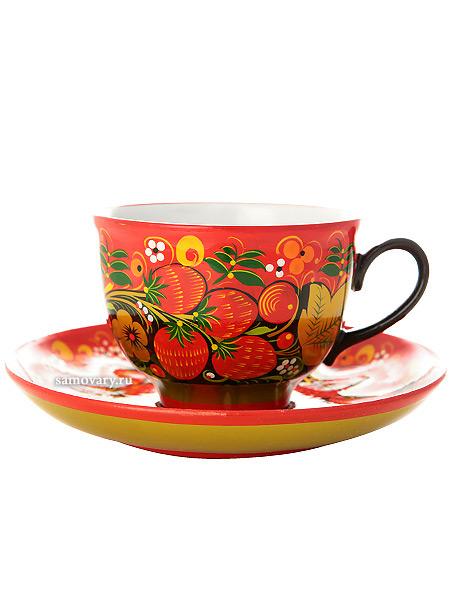 Чайная пара с художественной росписью Красный фон. Хохлома классическаяКерамическая чашка и блюдце.&#13;<br>Объем - 250 мл.<br>