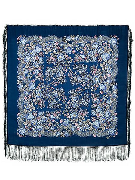 Шерстяной Павлопосадский платок Мария, 89x89 см, арт. 737-14Платок шерстяной с набивным рисунком и шелковой бахромой.<br>Размер 89*89 см.<br>