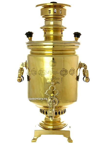 Угольный самовар 8 литров желтый