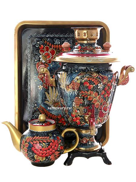 Набор самовар электрический 3 литра с художественной росписью Хохлома на синем фоне мелкая, арт. 140421Самовары электрические<br>Комплект из трех предметов:латунный самовар, металлический поднос и заварочный чайник.<br>