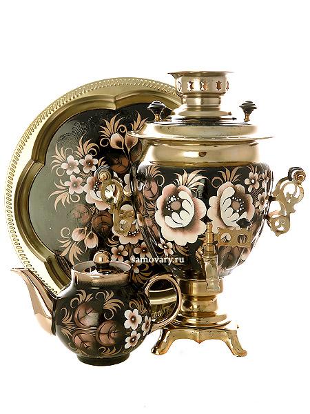 Набор самовар электрический 3 литра с художественной росписью Жостово на черном фоне, арт. 199876Комплект из трех предметов:латунный самовар, металлический поднос и заварочный чайник.<br>