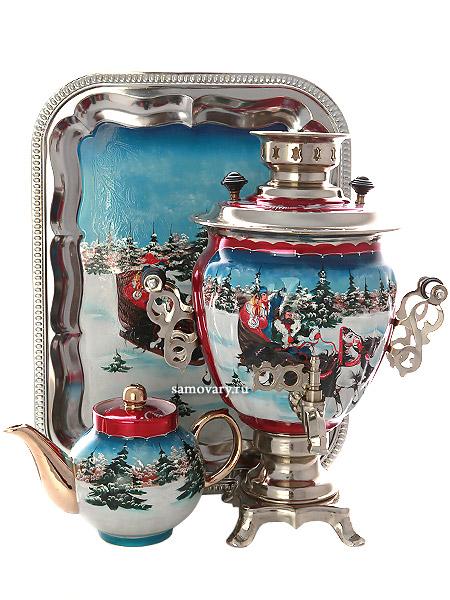 Набор самовар электрический 3 литра с художественной росписью Тройка зимняя, арт. 130206Самовары электрические<br>Комплект из трех предметов:латунный самовар, металлический поднос и заварочный чайник.<br>