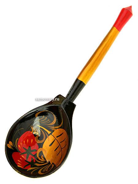 Деревянная столовая ложка (п/басская)  с художественной росписью Хохлома, арт.15040000000Ложка деревянная. &#13;<br>Длина - 18 см.<br>
