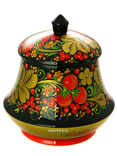 Чайница деревянная с художественной росписью Хохлома классическая, 140х130, арт.34070140130Деревянная чайница с хохломской росписью.&#13;<br>Размер чайницы - 140х130 мм.<br>