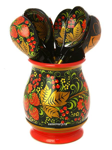 Деревянный набор Хозяюшка Хохлома классическая, арт.6363000007Деревянный набор с хохломской росписью.<br>Состоит из 7 предметов.<br>