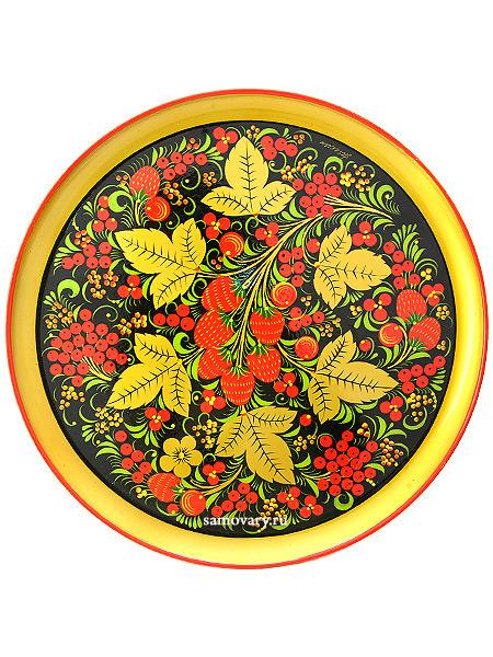 Тарелка-панно хохлома Ягодная полянка 210Х21, арт. 1Деревянная тарелка-панно с хохломской росписью.&#13;<br>Размер - 210х21 мм.<br>