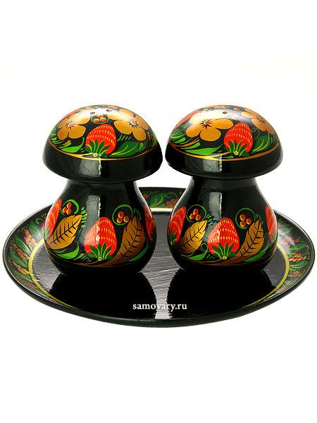Деревянный набор для специй грибочки Хохлома классическая, арт.64300000003Деревянный набор для специй с хохломской росписью.&#13;<br>Состоит из 3-ех предметов.<br>