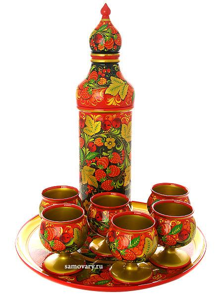 Набор для вина хохлома Летний 8 предметовДеревянный набор для вина с хохломской росписью.<br>Состоит из 8 предметов.<br>