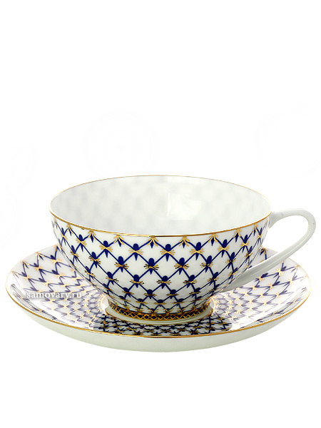 Чашка с блюдцем чайная форма Купольная, рисунок Кобальтовая сетка, Императорский фарфоровый заводФарфоровая чайная пара.&#13;<br>Объем - 250 мл.<br>