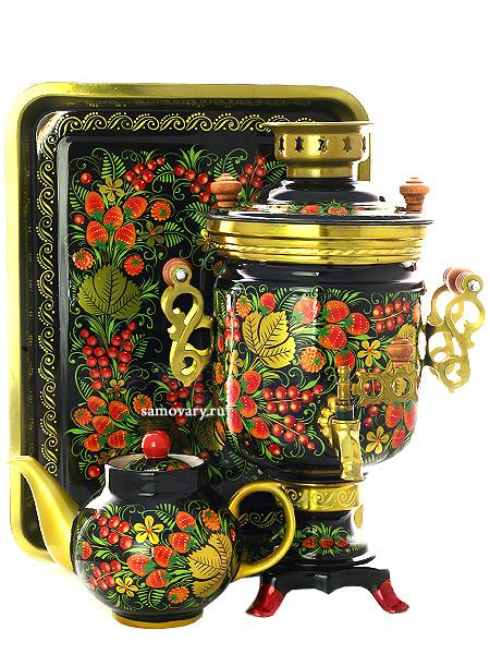 Набор самовар электрический 3 литра с художественной росписью Хохлома классическая, цилиндр, арт. 121109Комплект из трех предметов:латунный самовар, металлический поднос и заварочный чайник.<br>
