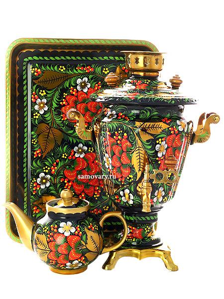 Набор самовар электрический 3 литра с художественной росписью Хохлома классическая, конус, арт. 121107Комплект из трех предметов:латунный самовар, металлический поднос и заварочный чайник.<br>