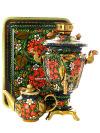 Набор самовар электрический 3 литра с художественной росписью Хохлома классическая, конус, арт. 121107Самовары электрические<br>Комплект из трех предметов:латунный самовар, металлический поднос и заварочный чайник.<br>