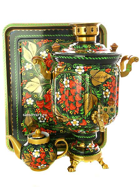 Набор самовар электрический 10 литров с художественной росписью Хохлома классическая, арт. 130310Комплект из трех предметов:латунный самовар, металлический поднос и заварочный чайник.<br>