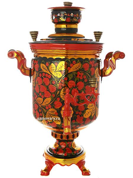 Угольный самовар с художественной росписью Хохлома рыжая 5 литров цилиндр, арт. 261220Тульский латунный самовар классической формы с художественной росписью.<br>Труба для отвода дыма в комплекте.<br>