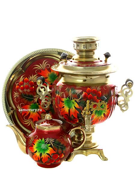 Набор самовар электрический 3 литра с художественной росписью Клен на бордовом фоне, арт. 190321Комплект из трех предметов:латунный самовар, металлический поднос и заварочный чайник.<br>