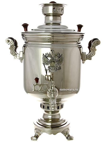 Угольный самовар 5 литров цилиндр никелированный Тула с накладным Гербом РФ, арт. 220511Тульский латунный самовар классической формы гладкий с никелированным покрытием.&#13;<br>Труба для отвода дыма в комплекте.<br>