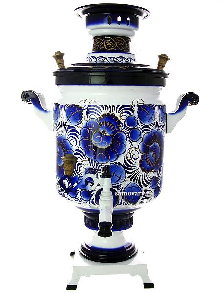 Самовар электрический 10 литров с художественной росписью Гжельские кружева,арт.121009Латунный самовар с термостойкой росписью.<br>