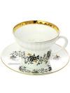 Сервиз чайный форма Волна, рисунок Тонкие веточки с отводкой 6/20, Императорский фарфоровый заводаСервиз чайный из 20 предметов: 6 чайных пар, 6 десертных тарелок, чайник заварочный и сахарница.<br>